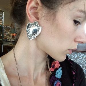 Vintage Jewelry - Real Silver VTG 925 Shield Earrings